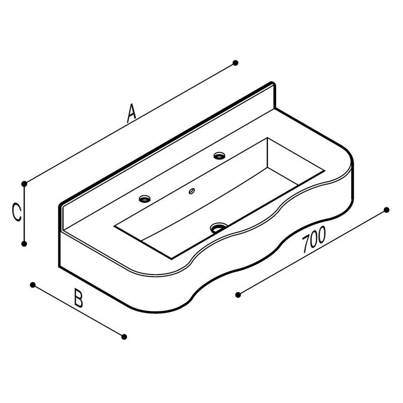 Disegno Consolle sagomata a due posti completa di veletta, munita di staffe Disegno Tecnico B44CNM01
