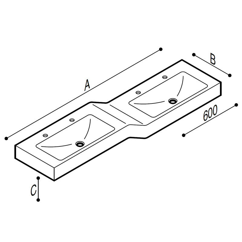 Draw Acrylic stone rectangular console, with double basin at different height Technical Drawing B44CNM15