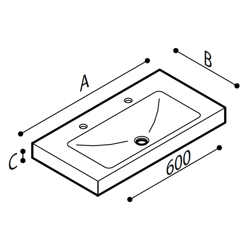 Draw Acrylic stone rectangular console Technical Drawing B44CNM12