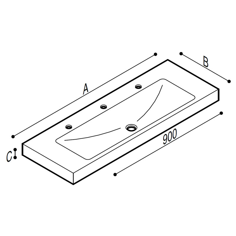Draw Acrylic stone rectangular console Technical Drawing B44CNM13