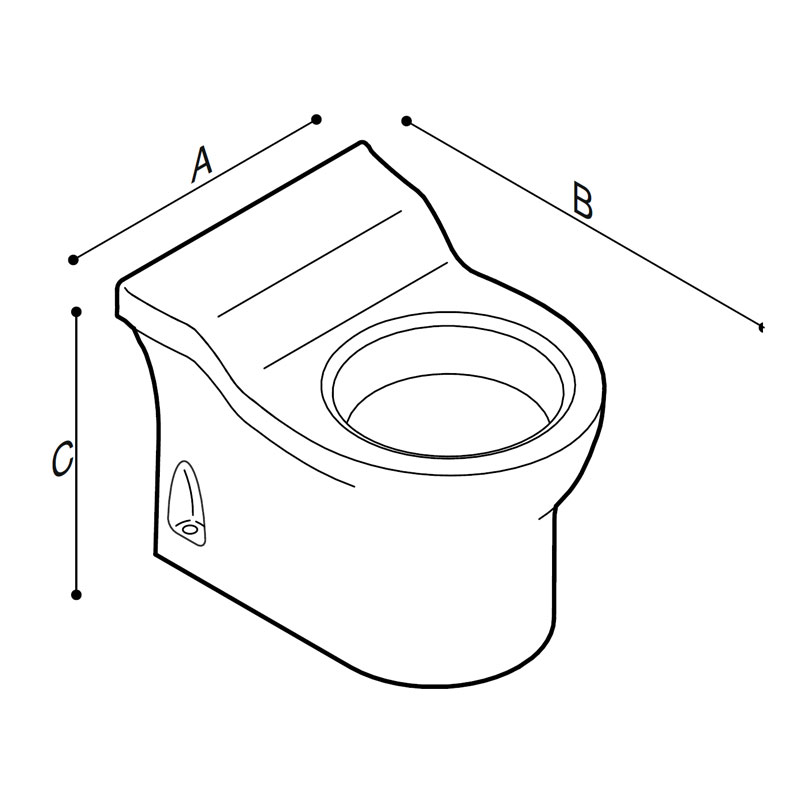 Draw Tiny floor standing WC-bowl for children use  Technical Drawing B44CBS06