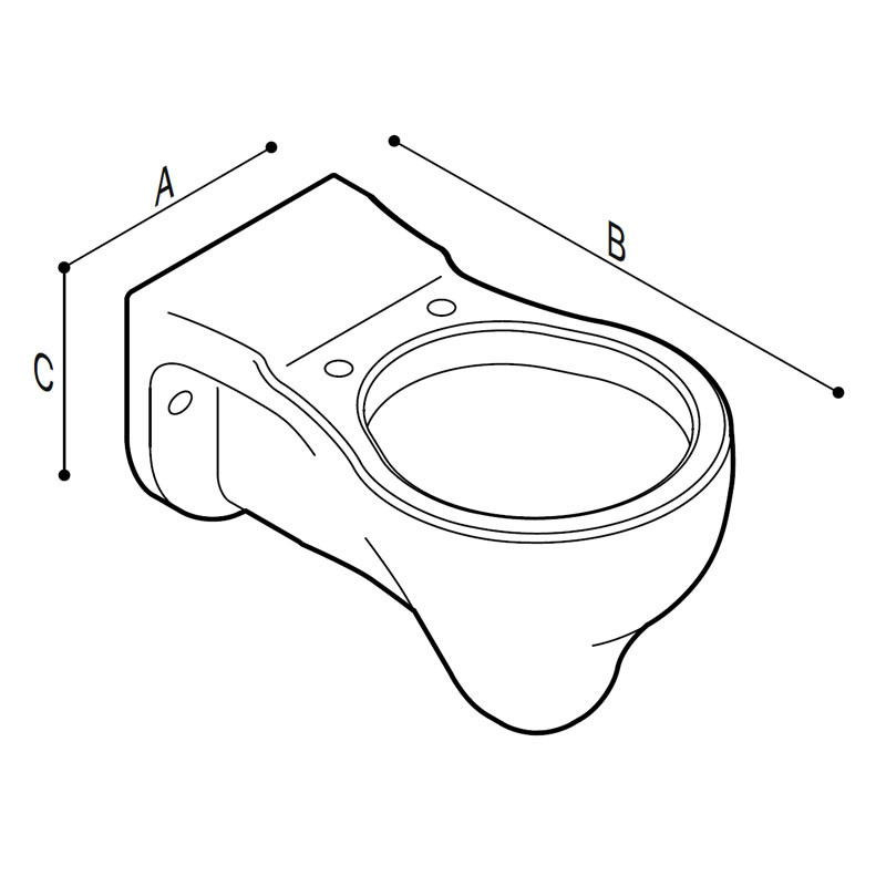 Draw Hanging WC-bowl for children use, extended body Technical Drawing B44CAS03