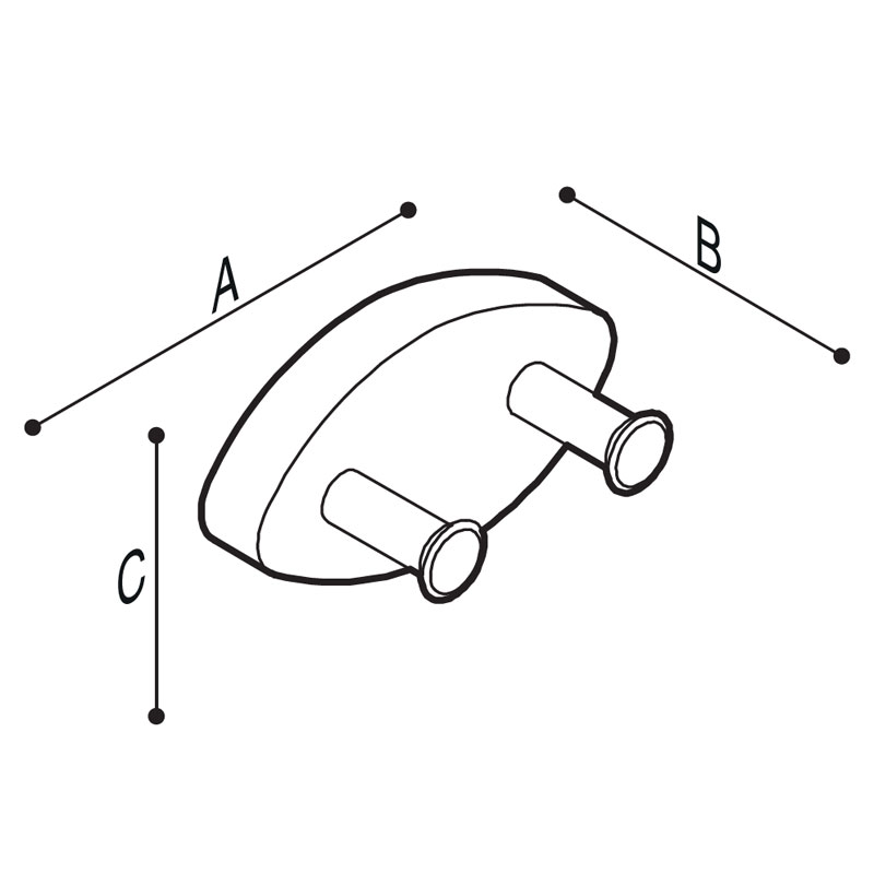Draw Double clothes hook Technical Drawing F17AKN02