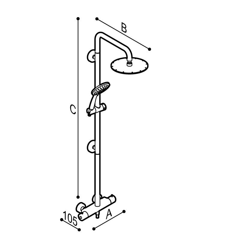 Disegno Colonna doccia sicura con corpo in acciaio inox, con  soffione abs cromo Ø250 mm, completa di miscelatore termostatico esterno. Disegno Tecnico H51GLS02
