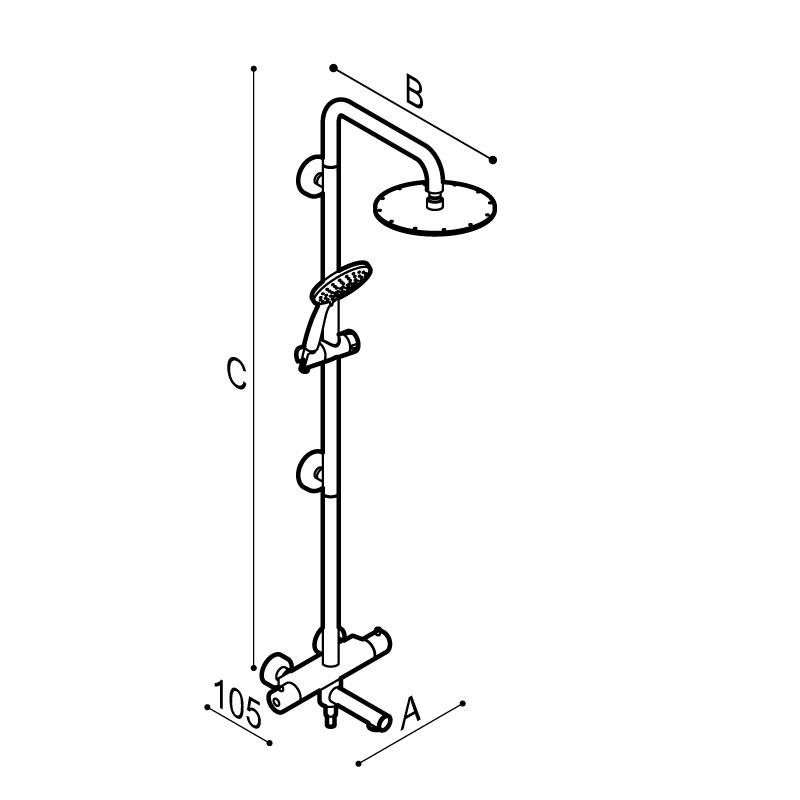 Disegno Colonna doccia sicura con corpo in acciaio inox per vasca, con soffione abs cromo Ø250 mm. completa di miscelatore termostatico esterno con bocca girevole per vasca.  Disegno Tecnico H51GLS03