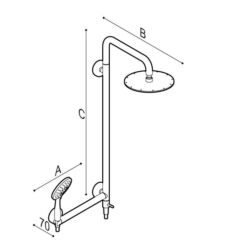 Disegno Colonna doccia sicura con corpo in acciaio inox con soffione in ABS Ø250 mm e maniglia di sicurezza Disegno Tecnico H51GJR02
