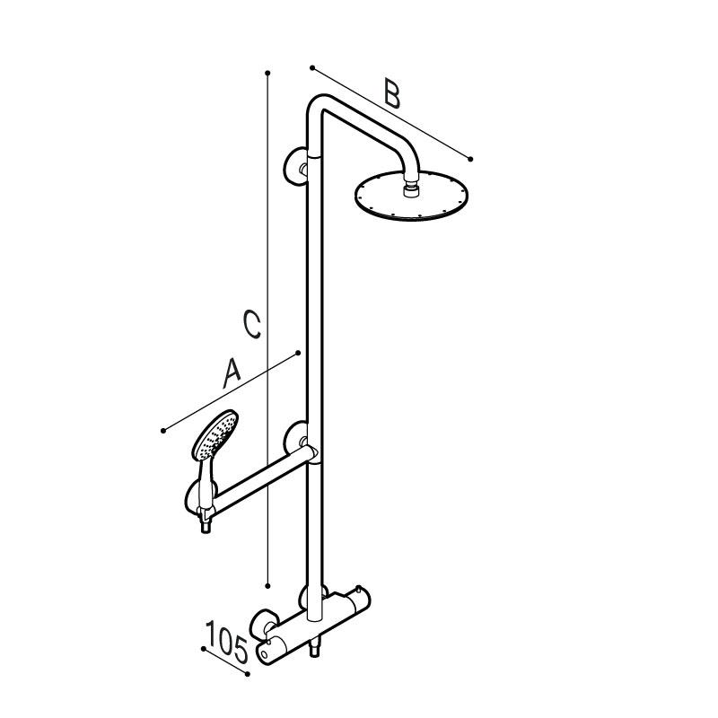 Disegno Colonna doccia sicura con corpo in acciaio inox con soffione in acciaio inox Ø240 mm, completa di miscelatore termostatico esterno e maniglia di sicurezza. Disegno Tecnico H51GLR04