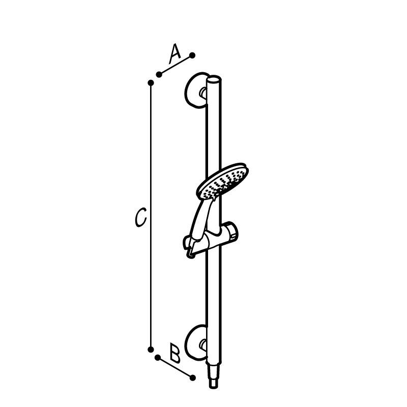 Disegno Set doccia sicura con corpo in acciaio inox Disegno Tecnico H51GOS01