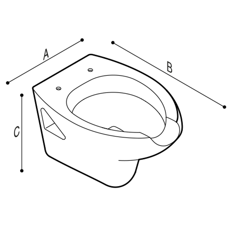 Disegno Vaso sanitario, con apertura frontale, sospeso Disegno Tecnico B40CAO02