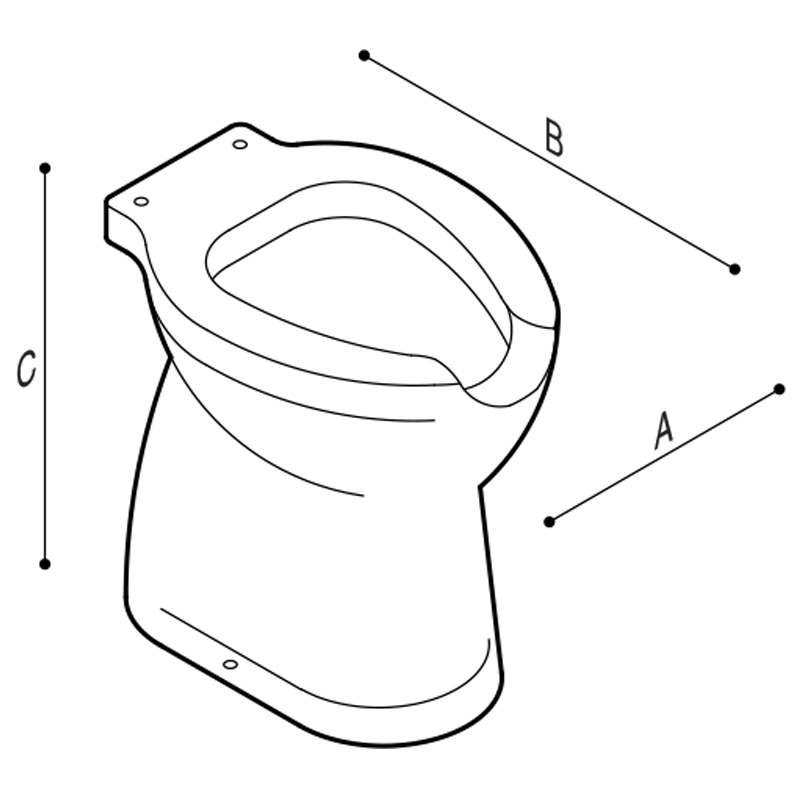 Draw WC with front opening with floor draining Technical Drawing B40CBO06