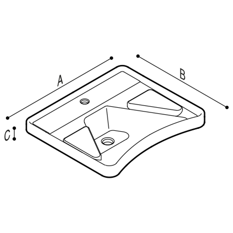 Draw Ergonomic wash basin with elbow rest Technical Drawing B40CMS01