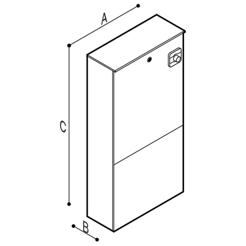 Disegno Modulo Sanitario WC, con comando di scarico elettronico, modello 362 Disegno Tecnico B41EAS10