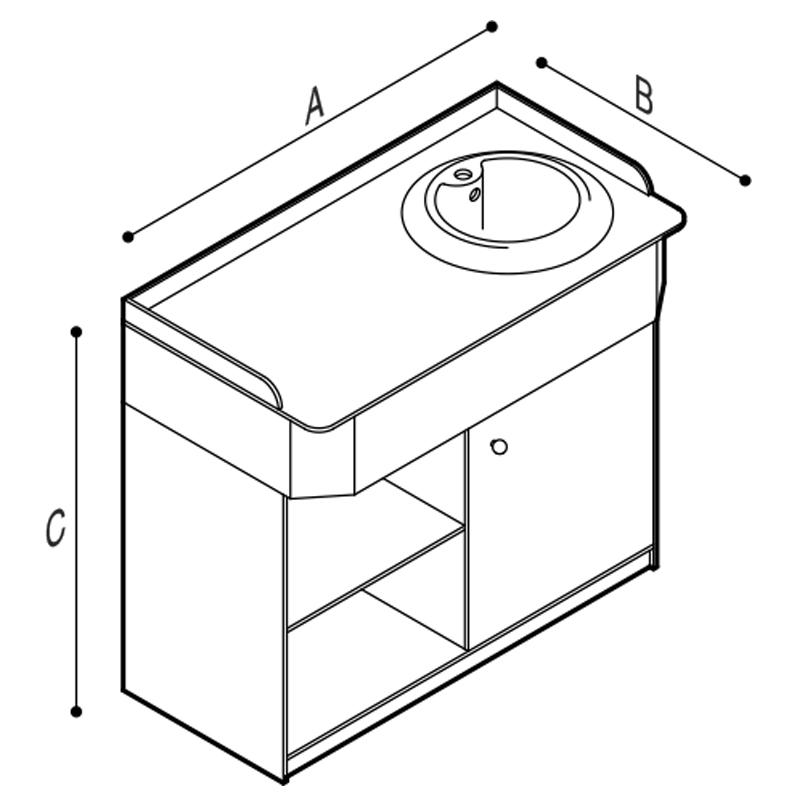 Disegno Mobile fasciatoio infanzia, da completare con lavabo sopra-piano Disegno Tecnico B41EDR01