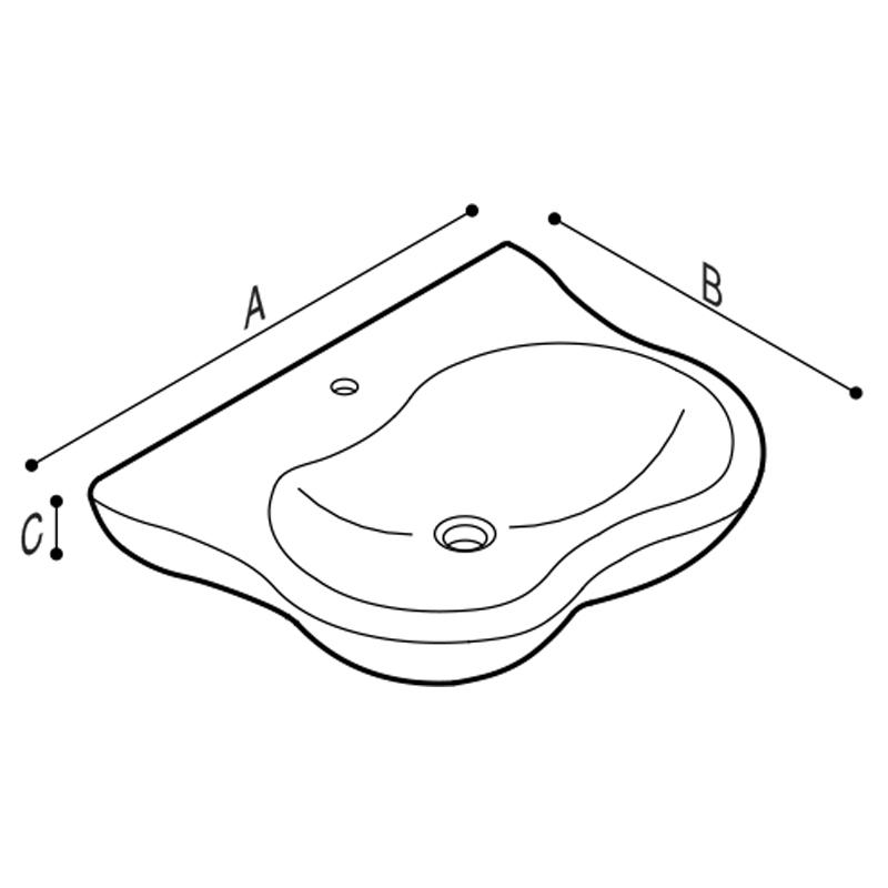 Disegno Lavabo ergonomico con poggia gomiti Disegno Tecnico B42CMS01