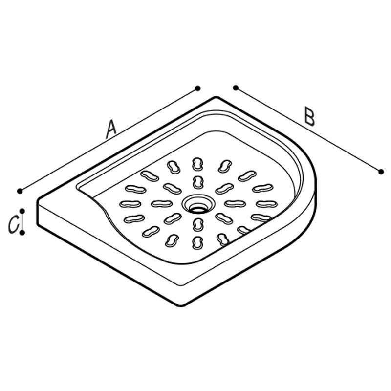 Disegno Piatto doccia con angolo tondo, con dimensioni e forma salva spazio Disegno Tecnico B42CPR01