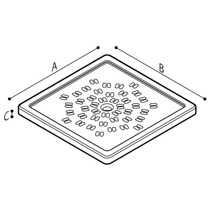 Disegno Piatto doccia a filo pavimento modello 400 Disegno Tecnico B42CPS01