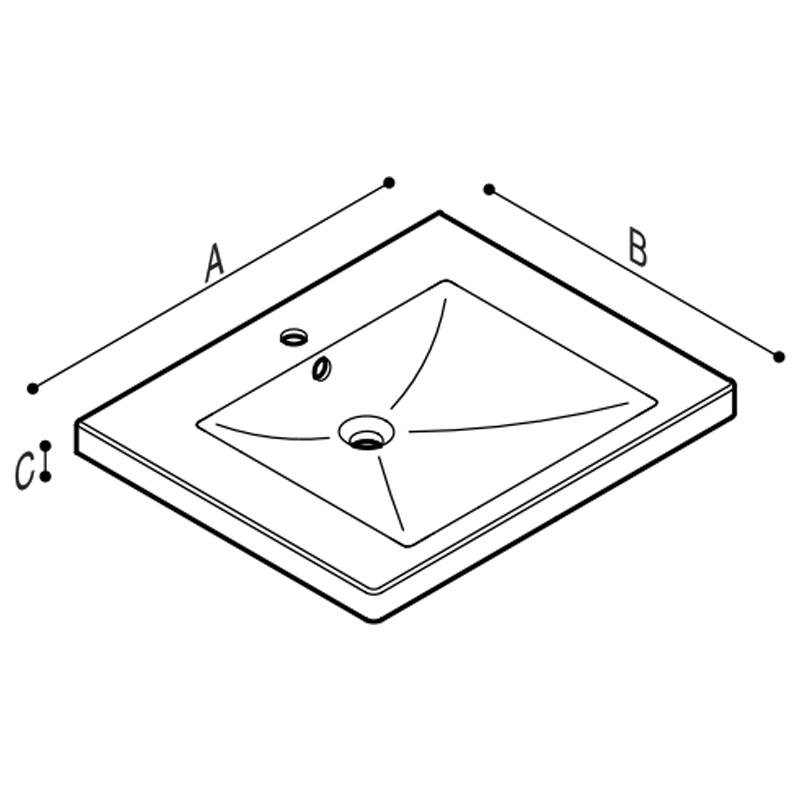 Draw Ergonomic wash-basin Technical Drawing B43CMS01