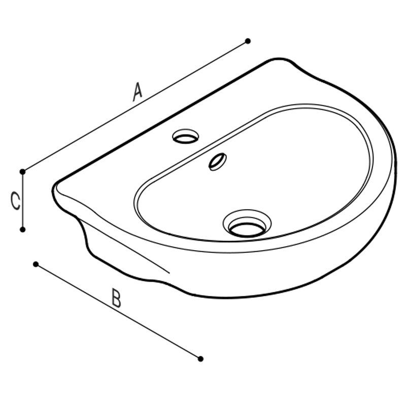 Draw Cantilevered wash basin for children use Technical Drawing B44CMS01