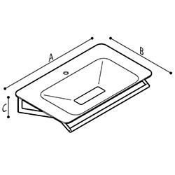 Draw Ergonomic shaped wash basin Technical Drawing B46CMM17