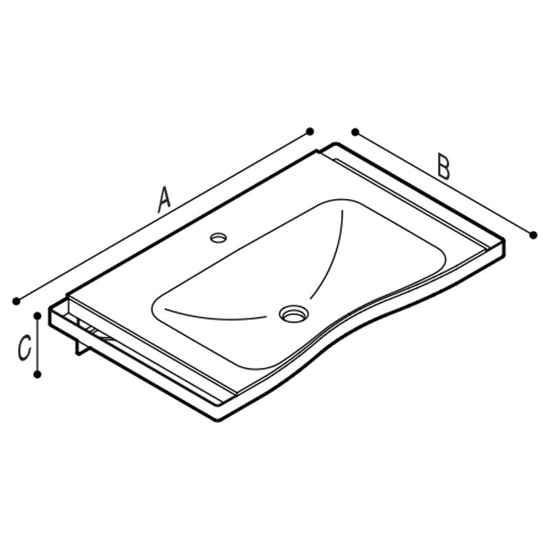 Disegno Consolle ergonomica con struttura in acciaio Disegno Tecnico B46CNM05