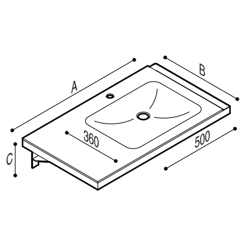 Disegno Consolle in pietra acrilica completa di struttura portante di fissaggio con porta teli integrato. Disegno Tecnico B46CNR07