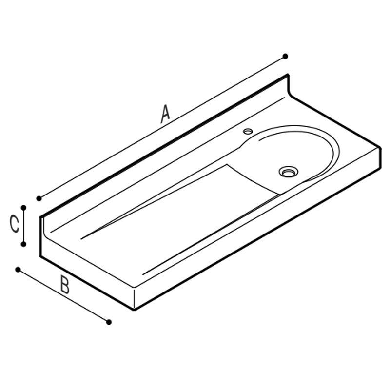 Disegno Lavabo fasciatoio in pietra acrilica Disegno Tecnico B46EDR01