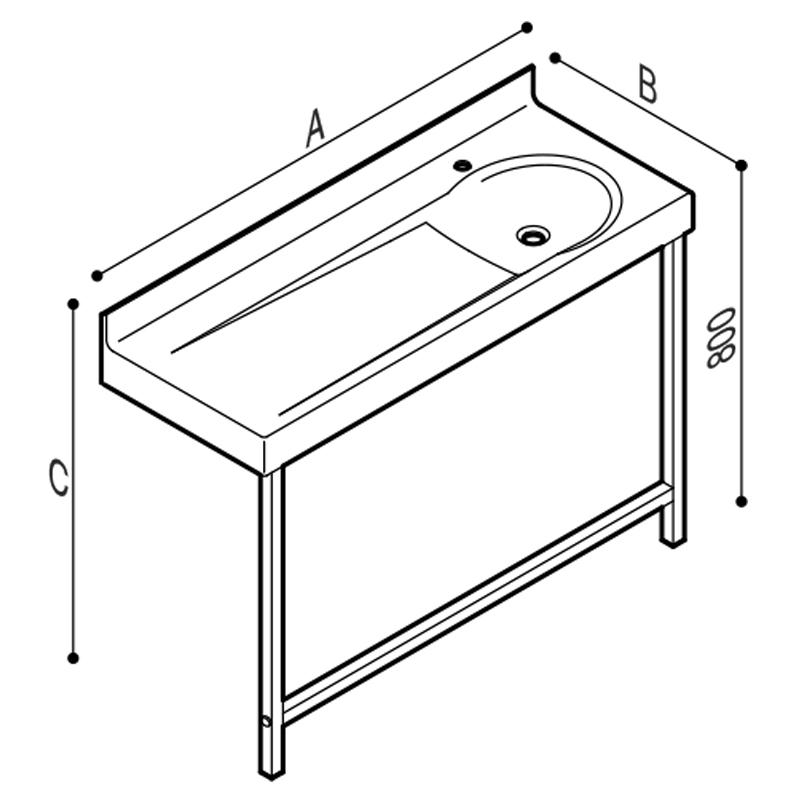Disegno Fasciatoio con lavabo integrato, munito di gambee mensole. Disegno Tecnico B46EDR02