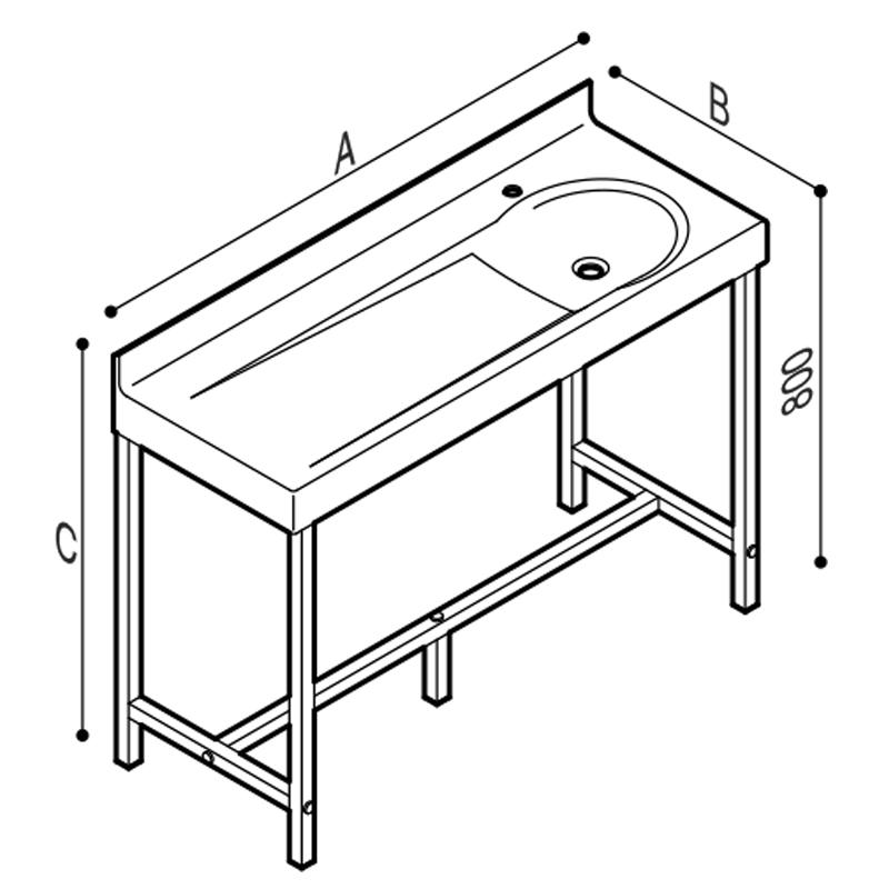Disegno Fasciatoio con lavabo integrato, munito di struttura autoportante. Disegno Tecnico B46EDR03