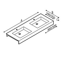 Disegno Piano lavabo in pietra acrilica, con doppio catino di forma squadrata, munita di veletta frontale. Disegno Tecnico B46TLM48