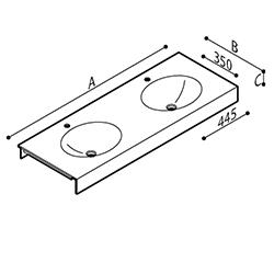 Disegno Piano lavabo con doppio catino di forma ovale Disegno Tecnico B46TLM61