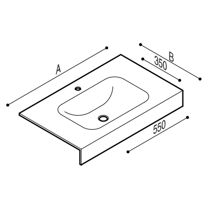 Draw Acrylic stone vanity top basin Technical Drawing B46TLM90