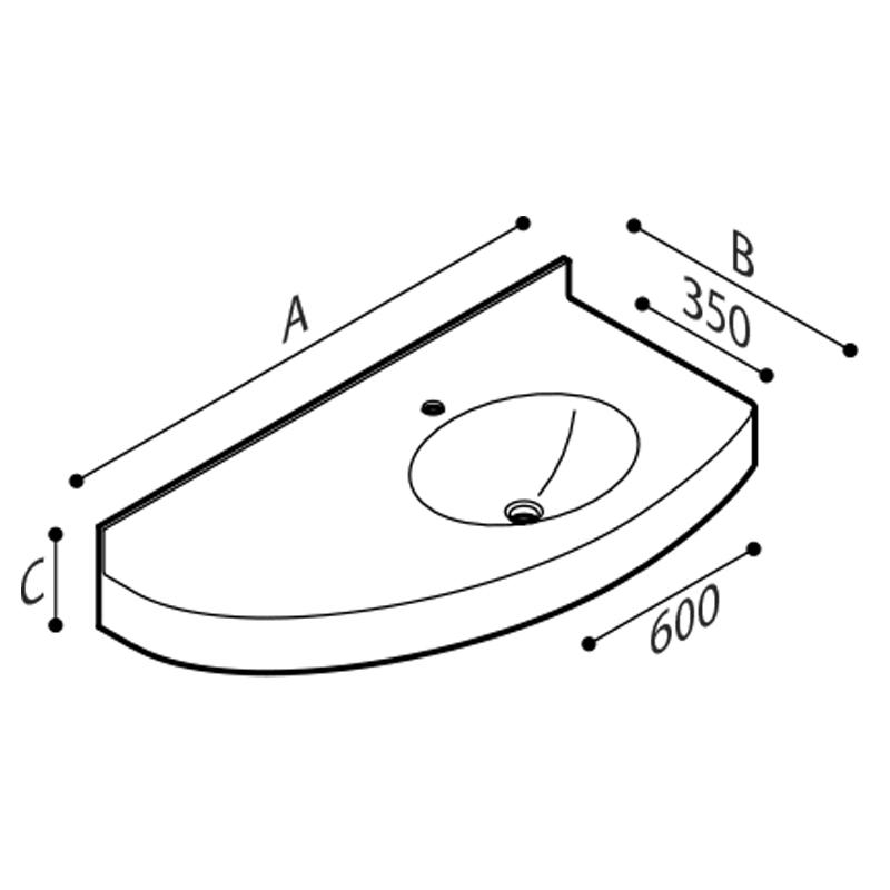 Disegno Piano lavabo Disegno Tecnico B46TLR04