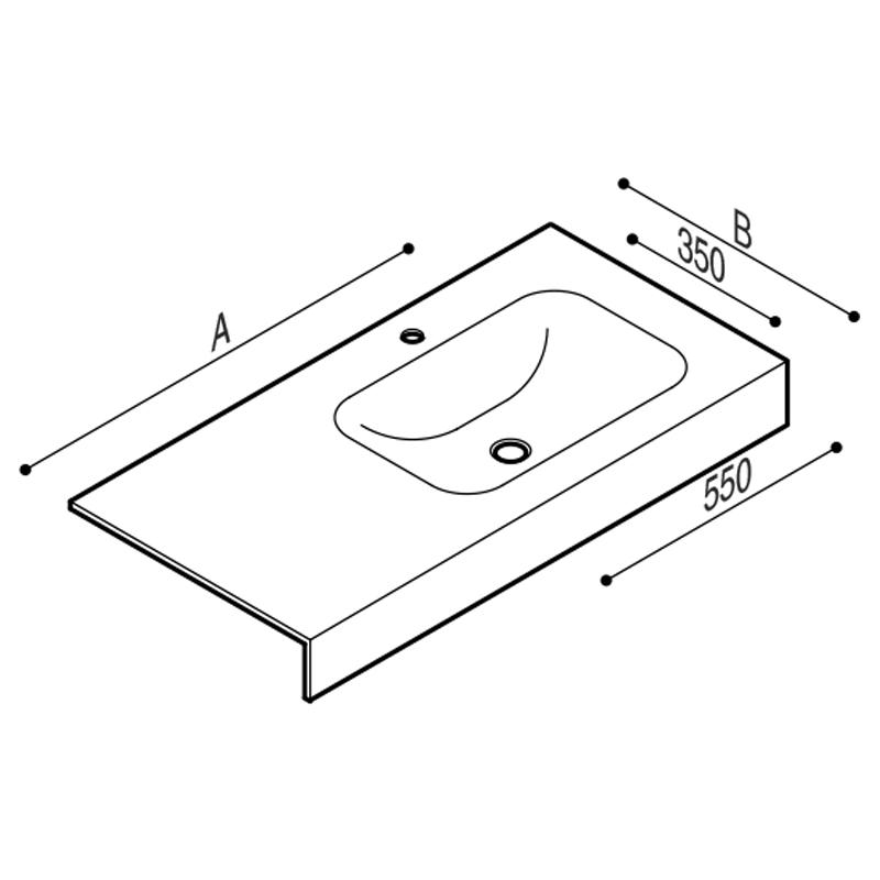 Disegno Piano lavabo Disegno Tecnico B46TLR91