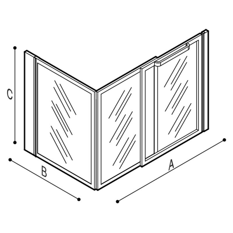 Disegno Box doccia per angolo Disegno Tecnico C53FBR03