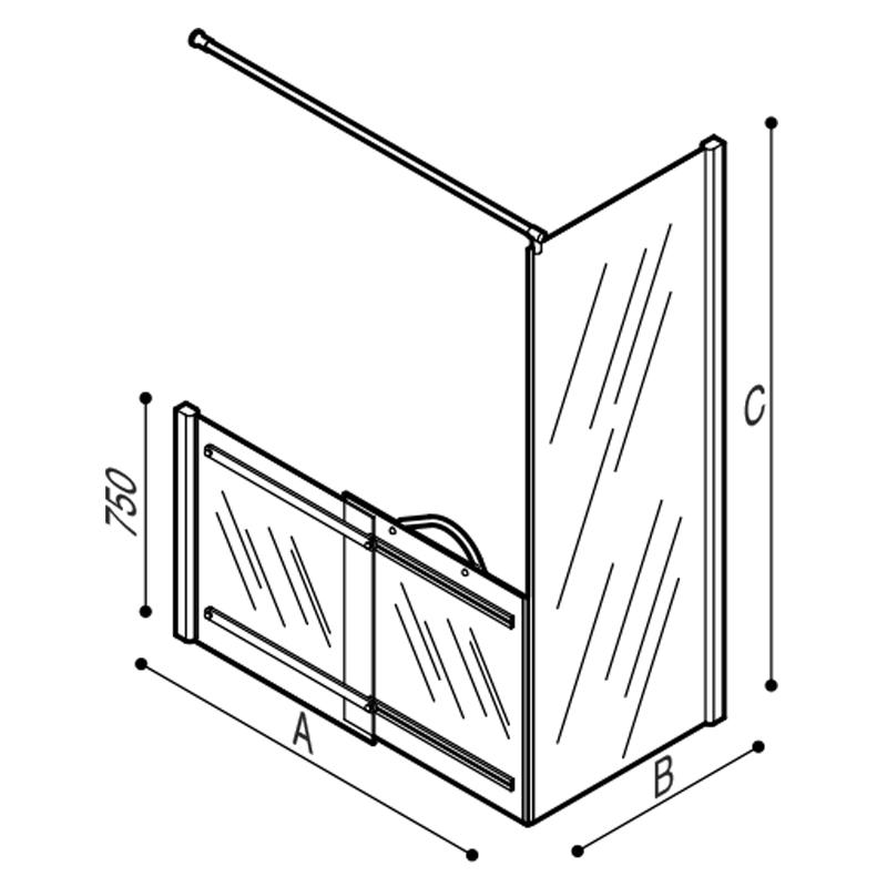 Disegno Box doccia per angolo Disegno Tecnico C53FBR13