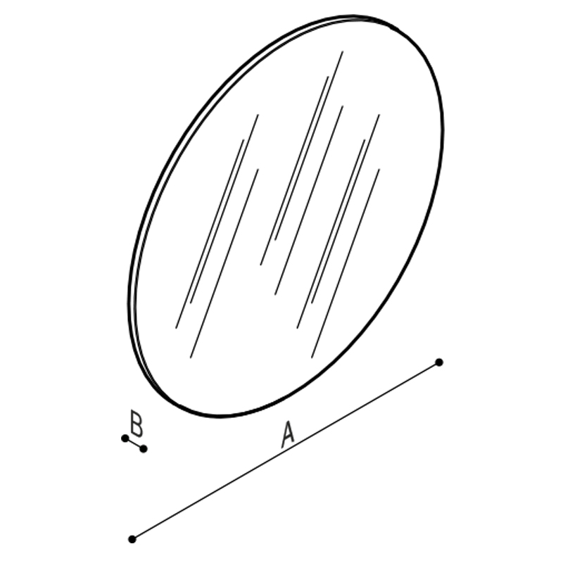 Draw Frameless round mirror in safety glass Technical Drawing F41JPS17