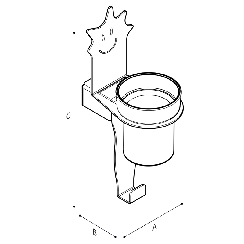 Disegno Porta bicchieri con gancio porta telo, figura stella Disegno Tecnico F44ALS01