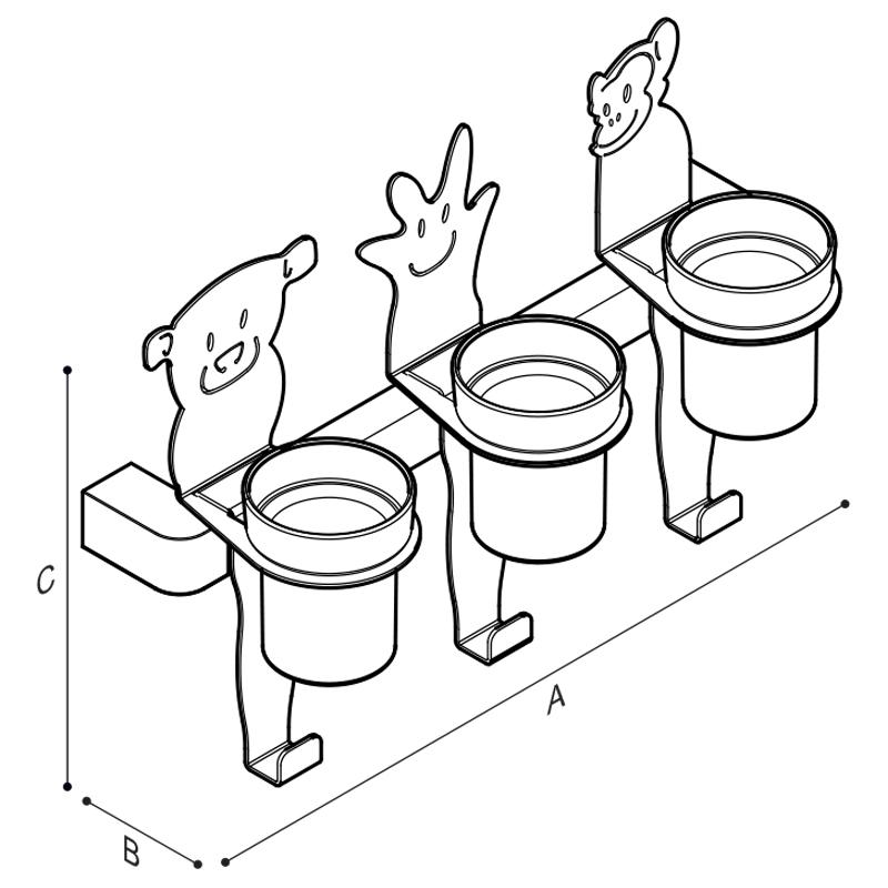 Disegno Barra con tre personaggi porta bicchiere e gancio porta telo, personaggi stella, uccello e fiore Disegno Tecnico F44JES03