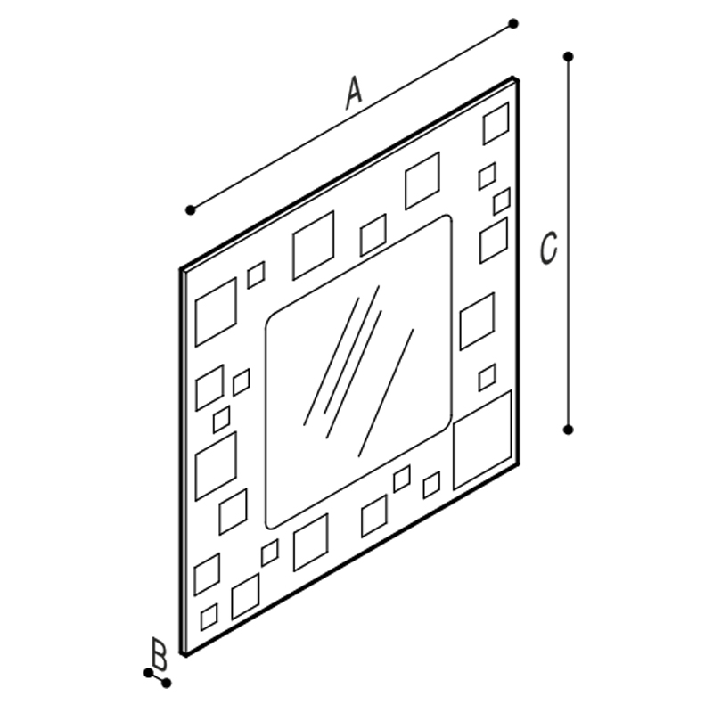 Draw Mirror with backlit translucent frame Technical Drawing F47ATM10