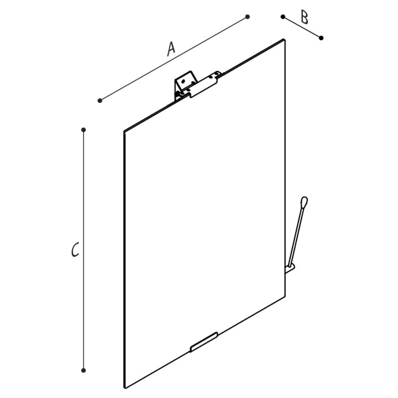 Disegno Specchio inclinabile con vetro di sicurezza Disegno Tecnico F47JPS02