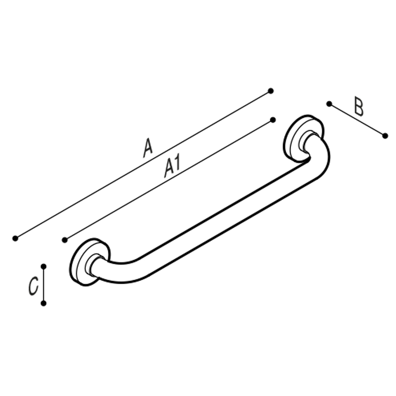 Draw Safety grab bar, straight  Technical Drawing G01JAS01