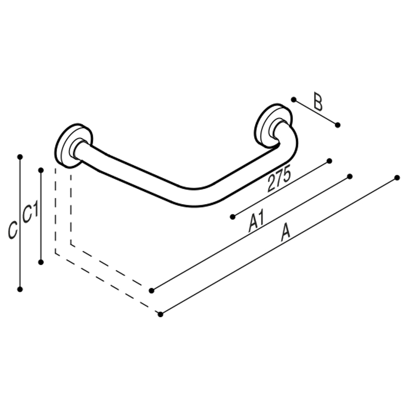 Disegno Sostegno di sicurezza ad angolo 135° Disegno Tecnico G01JAS08