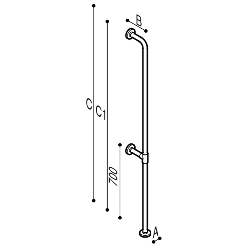 Disegno Maniglione di sicurezza verticale da parete a pavimento Disegno Tecnico G01JAS12