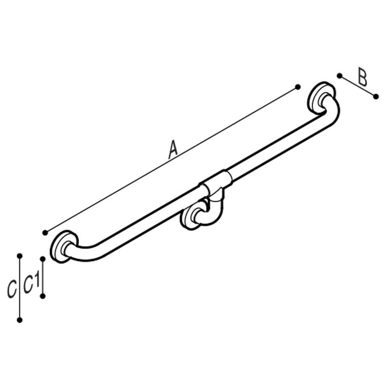 Disegno Corrimano con presa continua a misura Disegno Tecnico G01JAS18