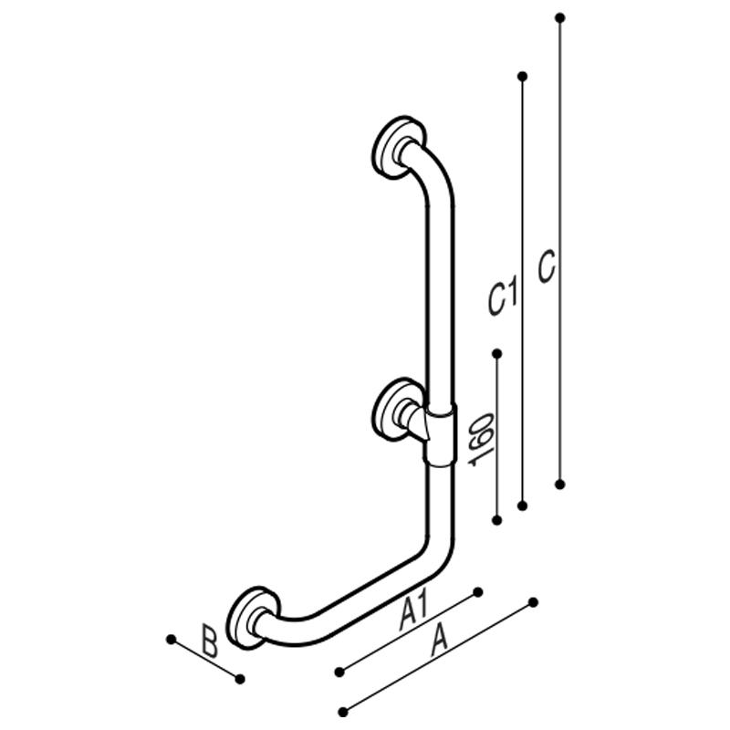 Draw Safety grab bar, corner, 90° Technical Drawing G01JBR19
