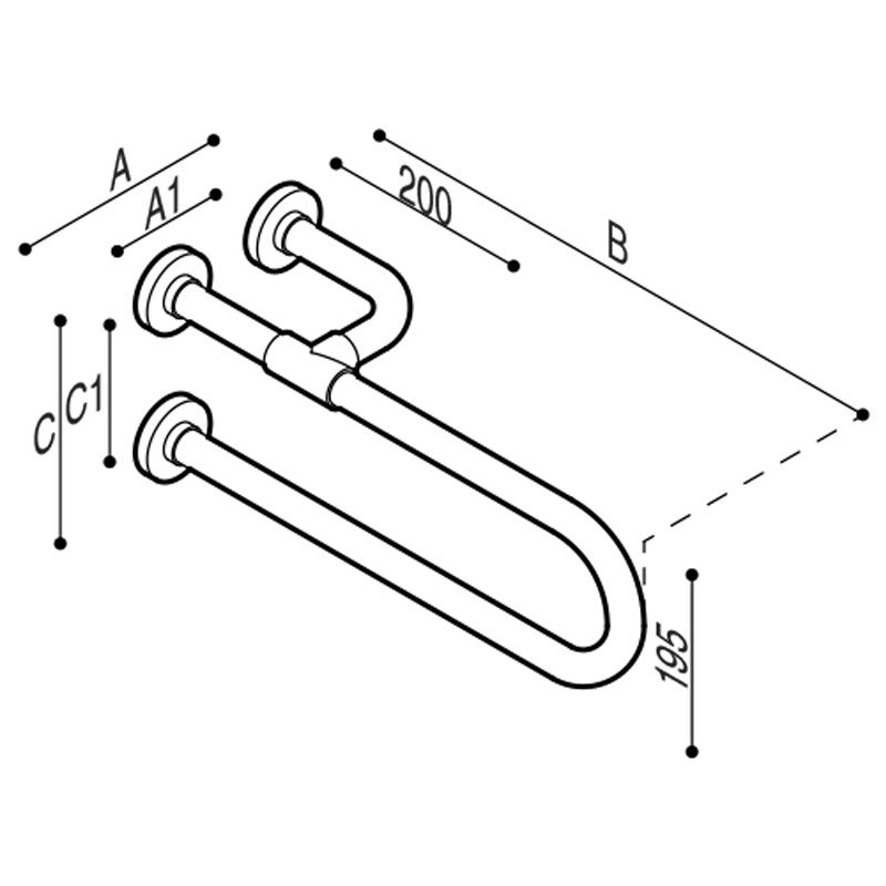Disegno Impugnatura di sicurezza fissa con rinforzo laterale Disegno Tecnico G01JCS05