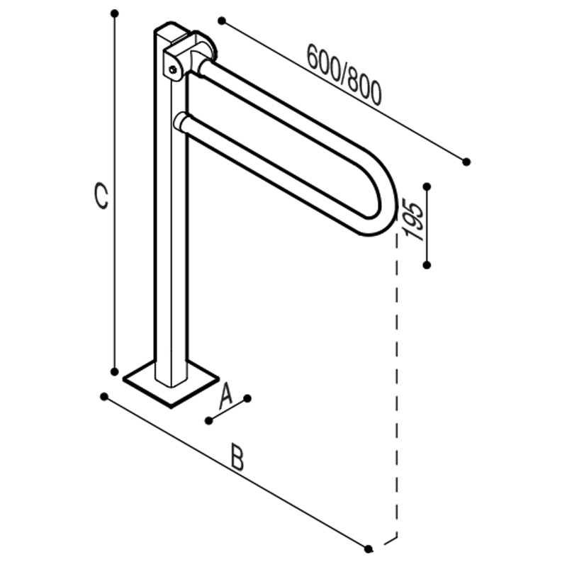 Draw Safety folding grab bar on floor mounted pedestal Technical Drawing G01JCS52