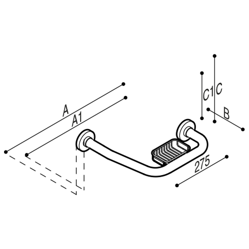 Disegno Sostegno di sicurezza ad angolo 135° Disegno Tecnico G01JER07