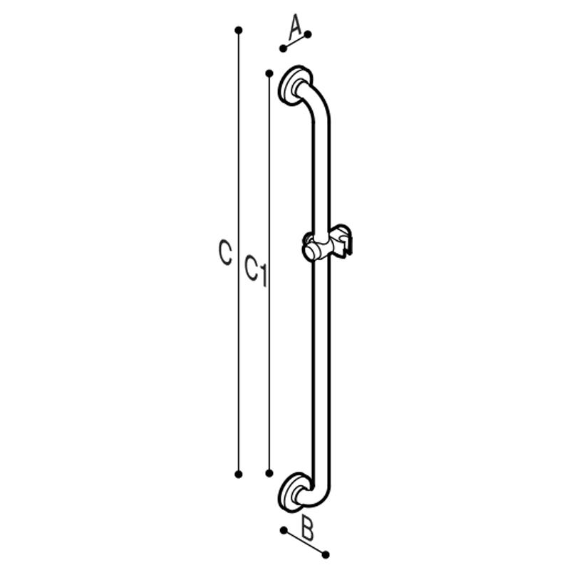 Disegno Maniglione di sicurezza con porta doccetta Disegno Tecnico G01JOS01