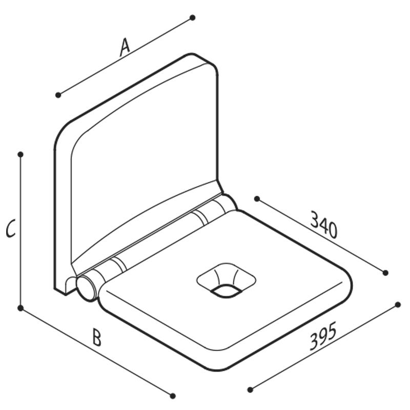 Disegno Sedile ribaltabille con schienale integrato Disegno Tecnico G12JDS19